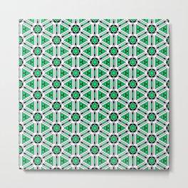 Tech Shapes Green Metal Print