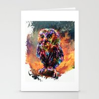 trex Stationery Cards featuring brave little owl by ururuty