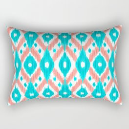 Artsy Coral Teal Abstract Ikat Geometric Pattern Rectangular Pillow