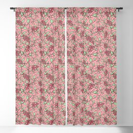 Begonia Leaves Illustrated Print Blackout Curtain