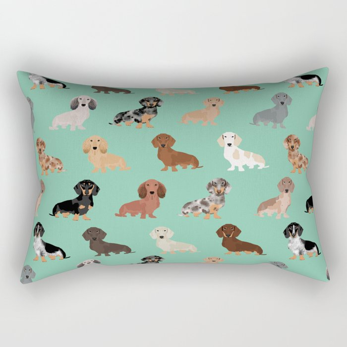 Dachshund dog breed pet pattern doxie coats dapple merle red black and tan Rectangular Pillow