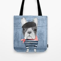 french bulldog Tote Bags featuring French Bulldog. by Barruf