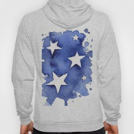 Stars Abstract Blue Watercolor Geometric Painting Hoody