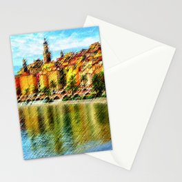 Cote d'azur, Menton France at Morning Landscape Painting by Jeanpaul Ferro Stationery Cards