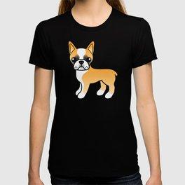 Fawn Boston Terrier Cute Cartoon Illustration T-shirt