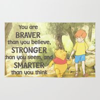 pooh Area & Throw Rugs featuring WINNIE THE POOH by DisPrints