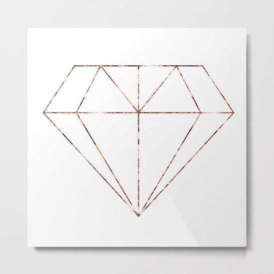 Rose gold foil diamond Metal Print