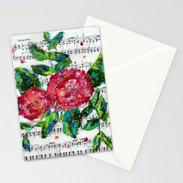 Melody - Floral - Piano notes Stationery Cards
