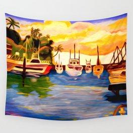 Lahaina Harbor Sunset Wall Tapestry