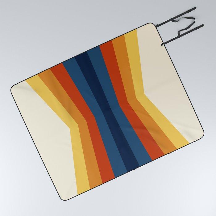 Bright 70's Retro Stripes Reflection Picnic Blanket