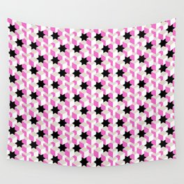 Pink and White Pattern with Gray and Black Stars Fractal Art Wall Tapestry