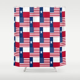 Mix of flag: Usa and Texas Shower Curtain