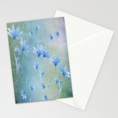 Fantasy Floating Blue Flowers Abstract Stationery Cards