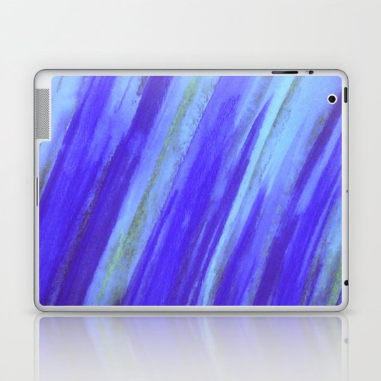 WASHED UP - Bold Blue Stripes Abstract Watercolor Painting Colorful Fun Surfer Ocean Waves Laptop & iPad Skin