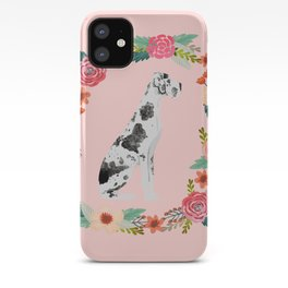 great dane dog floral wreath dog gifts pet portraits iPhone Case