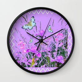 LILAC PURPLE MODERN FLOWERS ABSTRACT Wall Clock