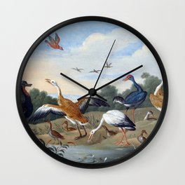Jan van Kessel the Elder Egrets and Ducks Wall Clock