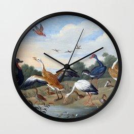 Jan van Kessel the Elder Egrets and Ducks Wall Clock