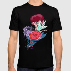 Chrysanth Wisteria & Lily - & Rose  Black MEDIUM Mens Fitted Tee