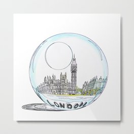 London painted in pastel colours in a glass bowl Metal Print