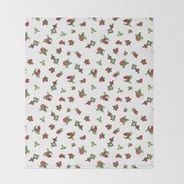 Cranberries white background Throw Blanket