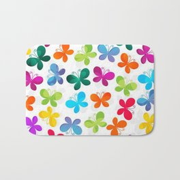 Colorful Butterflies and Flowers V9 Bath Mat