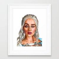 targaryen Framed Art Prints featuring Daenerys Targaryen by IrynaKhymychArt