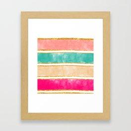 Modern Stripes Pink Red Watercolor Gold Glitter Framed Art Print