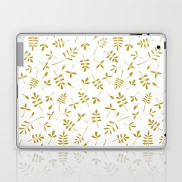 Gold Leaves Design on White Laptop & iPad Skin