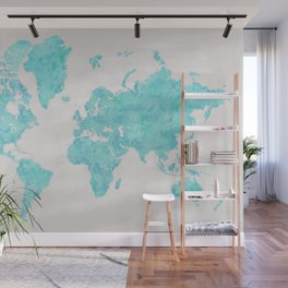 Turquoise and distressed grey world map with outlined countries Wall Mural