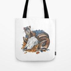 ferret and skull Tote Bag