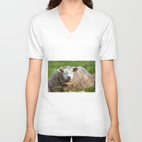 lamb V-neck T-shirts featuring lamb by Marcel Derweduwen