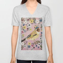 Goldfinch bird with floral crown Unisex V-Neck