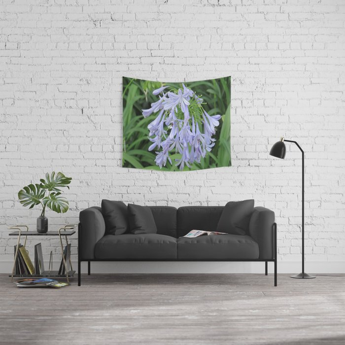 Blue Silky Blossoms Wall Tapestry