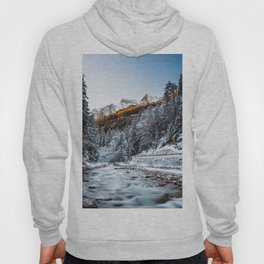 Autumn and winter river, forest and mountains Hoody