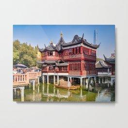 Huxinting Tea House and Nine Turn Bridge, Shanghai Metal Print