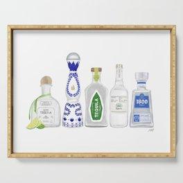 Tequila Bottles Illustration Serving Tray