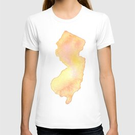 Coral Watercolor State of New Jersey T-shirt