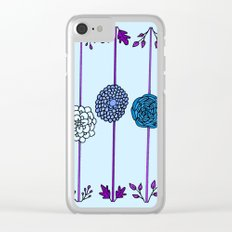 Garden Flowers Illustration - in Blues Clear iPhone Case