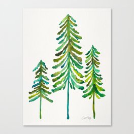 Pine Trees – Green Palette Canvas Print