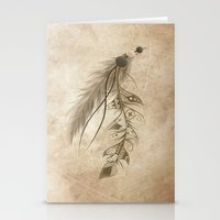 bohemian Stationery Cards featuring Bohemian Feather by LouJah
