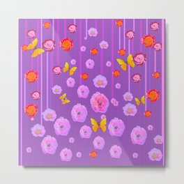 YELLOW BUTTERFLIES ROSES MODERN LILAC ART Metal Print
