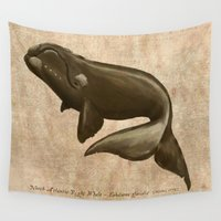 biology Wall Tapestries featuring North Atlantic Right Whale by Amber Marine