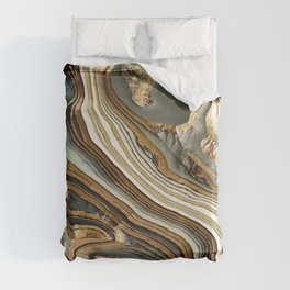 White Gold Agate Abstract Duvet Cover