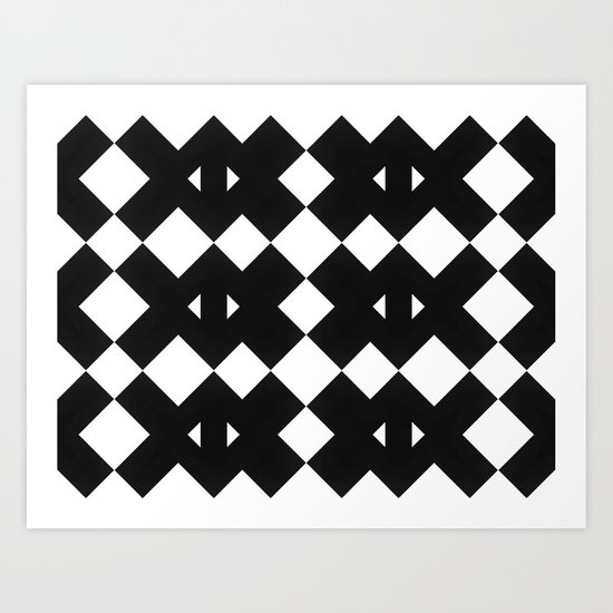 Branting Black & White Pattern Art Print