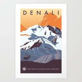 Denali National Park Travel Poster Art Print