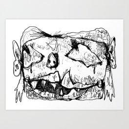 Weird Girl Head Art Print