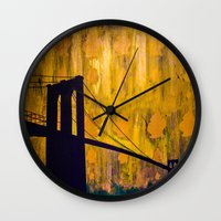 brooklyn bridge Wall Clocks featuring Brooklyn Bridge by KINGCHANCE