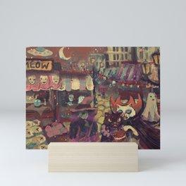 vampire cat and her cat boyfriend buying tomatos Mini Art Print