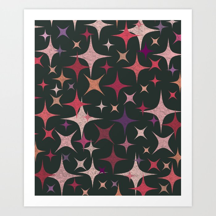 Purple, Red, Pink and White Stars in Dark Green Art Print